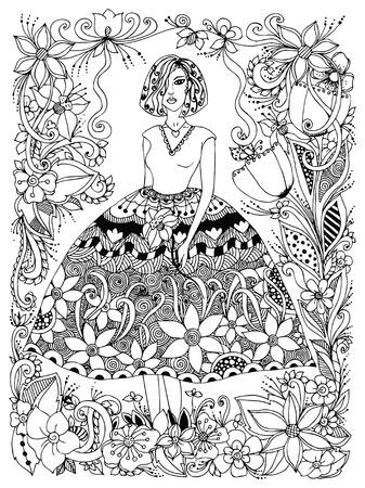 Fille d'illustration vectorielle tenant fleur en robe luxuriante en pleine croissance. Cadre de fleurs, griffonnage, zenart. Noir et blanc. Anti stress. Livres de coloriage pour adultes.