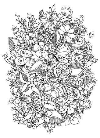 Vector Illustration Of Flowers Black And White Adult Coloring Books Stock