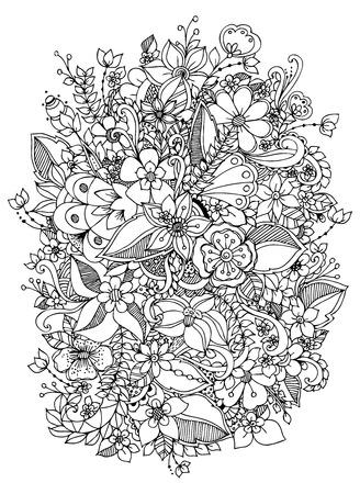 ilustracji wektorowych z kwiatami. Czarny i biały. Dorosłych kolorowanki. Ilustracje wektorowe