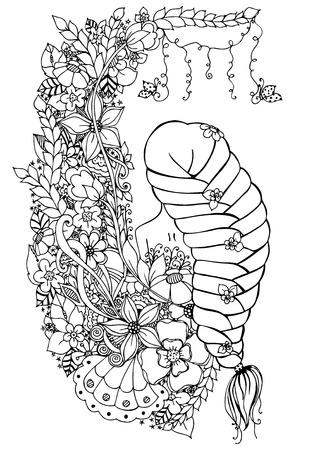 Vector illustration femme, fille dans les fleurs. Ouvrez le dos, longue tresse, griffonnage, zenart, Coloration anti-stress. Noir et blanc. Adulte livres à colorier.