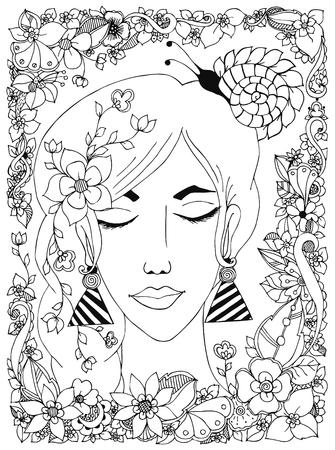 caracol: ilustración vectorial chica con las flores y las uñas en la cabeza, en un marco de flores, garabato, ZENART, dudlart. personajes de cuentos de hadas. Coloreando el estrés anti. libros para colorear para adultos.