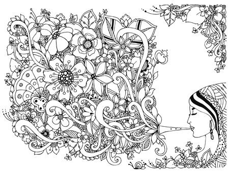black woman face: Vector illustration woman, girl and flute with flowers. Coloring Anti stress. Black and white. Adult coloring books. Musical instrument, music, spring.