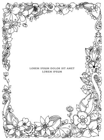 Vector illustration of floral frame doodling. Zenart, doodle, flowers. Adult coloring books
