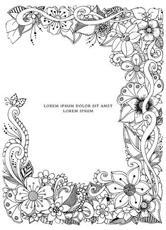 Vector illustration of floral frame doodling. Zenart, doodle, flowers. Black and white. Adult coloring books  イラスト・ベクター素材