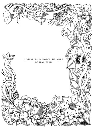 Vector illustration of floral frame doodling. Zenart, doodle, flowers. Black and white. Adult coloring books Ilustrace
