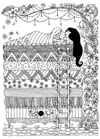 ilustración vectorial, princesa del guisante la garabatos arte ZENART. niña durmiendo, marco floral. En blanco y negro. libros para colorear para adultos