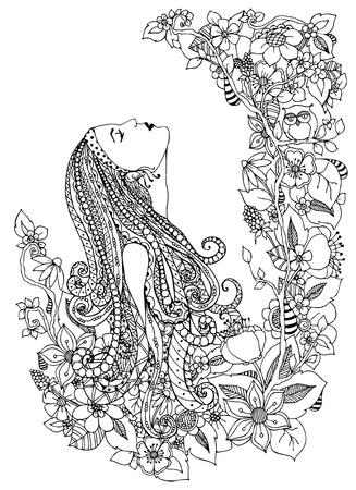 ilustración vectorial de la mujer en flores. Él mira hacia arriba, perfil, retrato, marco del, búho, dudling flores ZENART. La coloración anti estrés para los adultos. libros para colorear para adultos. Ilustración de vector