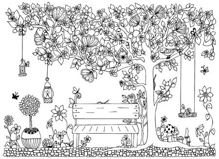 ilustración vectorial parque, jardín, primavera: banco, un árbol con manzanas, flores. Anti-estrés para adultos. En blanco y negro. libros para colorear para adultos.