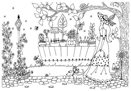 Vector illustratie vrouw met hond. Dame voor een wandeling, bloemenwinkel. Doodle bloemen. Anti stress. Park Street, Spring. Zwart en wit. Volwassen kleurboeken.