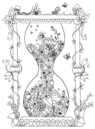 Vector illustration hourglass with flowers. Time, flowering, spring, doodle. Coloring Books for adult anti-stress.  Adult coloring books.