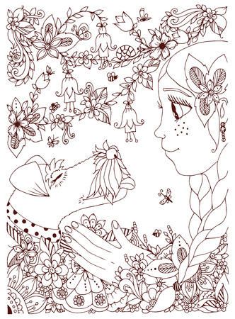 freckles: Vector illustration of a girl with freckles hugging dog fox terrier. Doodle flowers, frame, forest, garden. cartoon. Coloring book anti stress for adults. Brown  and white. Illustration