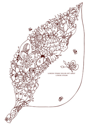 anti season: Vector illustration leaf with flowers. Hidden fox, bird, rabbit, hedgehog. Forest, garden, spring, bloom. Coloring book anti stress for adults. Brown and white.