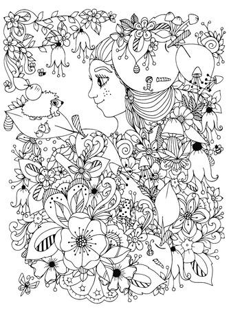Abstracción Blanco Y Negro Con Flores Y Mariposas. Página Para ...