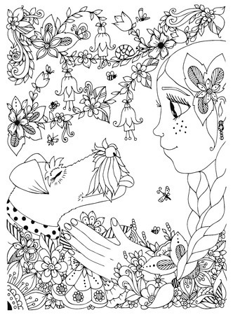 Vector illustration of a girl with freckles hugging dog fox terrier. Doodle flowers, frame, forest, garden. cartoon. Coloring book anti stress for adults. Black and white.