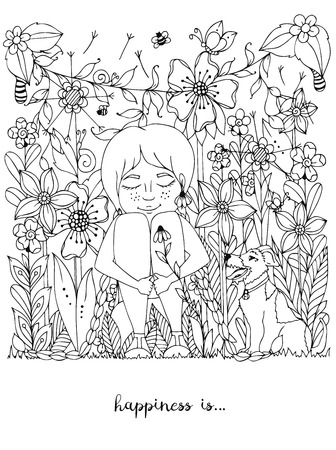 Vector illustration girl with freckles sitting in the flowers on the grass with a dog fox terrier. Doodle flowers, dandelion, frame, forest, garden, grass. Coloring book anti strees for adults. Black And White. Illustration