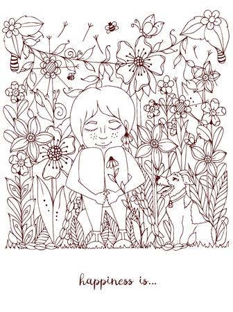 freckles: Vector illustration girl with freckles sitting in the flowers on the grass with a dog fox terrier. Doodle flowers, dandelion, frame, forest, garden, grass. Coloring book anti strees for adults. Brown  White.