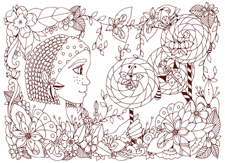 freckles: Vector illustration girl child with freckles holding a lollipop. Doodle frame flower, butterfly garden, African braids. Coloring book anti stress for adults. Brown  and white. Illustration