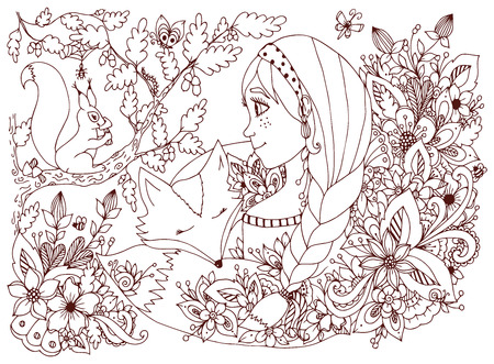 freckles: Vector illustration girl with freckles looking at the squirrel, sleeping face in the flowers. Cartoon, child, forest dwellers. Doodle flowers. Coloring book anti stress for adults. Brown  and white.