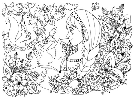 freckles: Vector illustration girl with freckles looking at the squirrel, sleeping face in the flowers. Cartoon, child, forest dwellers. Doodle flowers. Coloring book anti stress for adults. Black and white. Illustration