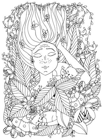 Vector illustration fille enfant avec des taches de rousseur dort avec des chats dans les fleurs. dessin griffonnage, fleur, forêt, jardin. Coloriage livre anti-stress pour les adultes. Noir et blanc.