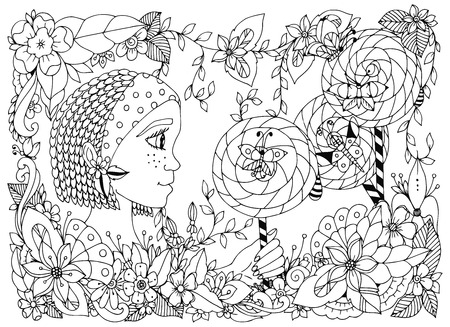 smiling child: Vector illustration zentangl girl child with freckles holding a lollipop. Doodle frame flower, butterfly garden, African braids. Coloring book anti stress for adults. Black and white. Illustration