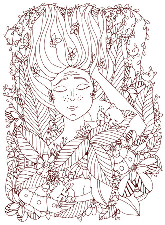 freckles: Vector illustration girl child with freckles is sleeping with cats in the flowers. Doodle drawing, bloom, forest, garden. Coloring book anti stress for adults. Brown  and white. Illustration