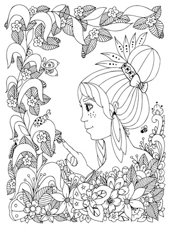 freckles: Vector illustration girl child with freckles looks at ladybug in a flower. Doodle frame flower, garden, forest, spring. Coloring book anti stress for adults. Black and white.