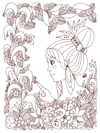 freckles: Vector illustration girl child with freckles looks at ladybug in a flower. Doodle frame flower, garden, forest, spring. Coloring book anti stress for adults. Brown  and white.