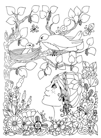 freckles: Vector illustration girl child with freckles looks at the bird nest. Doodle flowers, frame, wood. Coloring book anti stress for adults. Black and white. Illustration