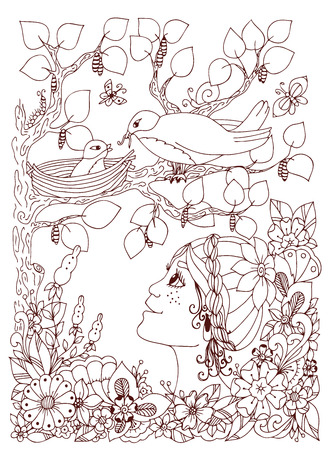 birds nest: Vector illustration girl child with freckles looks at the birds nest. Doodle flowers, frame, wood. Coloring book anti stress for adults. Brown  and white.