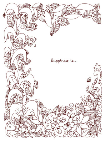 doodling: Vector illustration of floral frame doodling. Zenart, doodle, flowers, butterflies, delicate, beautiful. Brown  and white. Adult coloring books