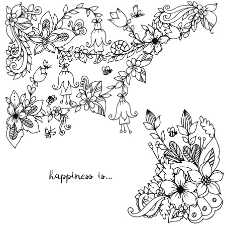 Vector illustration of floral frame doodling. Zenart, doodle, flowers, butterflies, delicate, beautiful. Black and white. Adult coloring books
