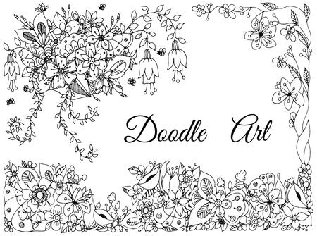 tangle: Vector illustration of floral frame zen tangle, doodling. Zenart, doodle, flowers,  beautiful.  Black and white. Adult coloring books anti-stress. Illustration
