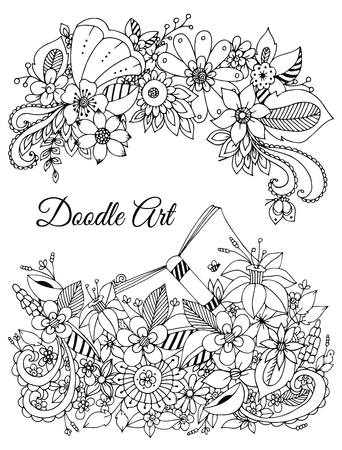 tangle: Vector illustration of floral frame zen tangle, doodling. Zenart, doodle, flowers. Delicate, beautiful. Black and white. Adult coloring books anti-stress. Illustration