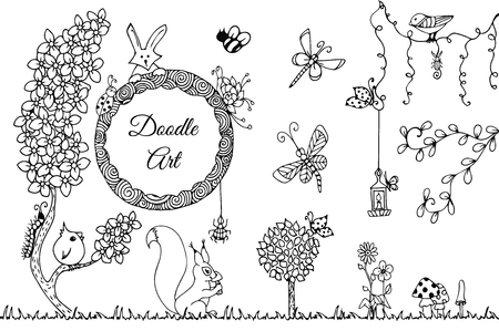 zen garden: Vector illustration Zen Tangle wild nature. Doodle flowers, garden, forest. Coloring book anti stress for adults. Full page. Black and white.