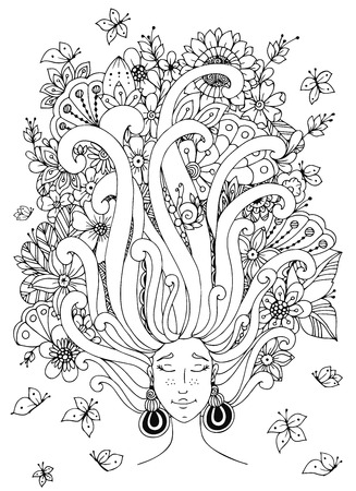 Vector illustration Zen Tangle girl with freckles sleeps. Doodle flowers in her hair, butterfly. Coloring book anti stress for adults. Black and white.