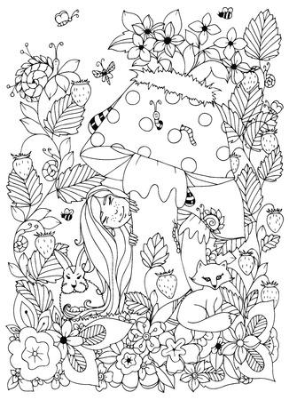 ilustración vectorial chica con pecas Zen enredo se escondió detrás de una seta. flores de bosquejo, animales del bosque. Libro de colorante anti-estrés para los adultos. Página para colorear. En blanco y negro.