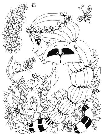 freckles: Vector illustration Zen Tangle girl with freckles and a raccoon. Doodle flowers, frame, bird. Coloring book anti stress for adults. Coloring page. Black and white.