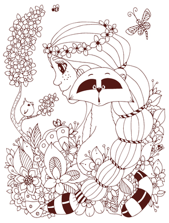 freckles: Vector illustration Zen Tangle girl with freckles and a raccoon. Doodle flowers, frame, bird. Coloring book anti stress for adults. Coloring page. Brown  and white. Illustration