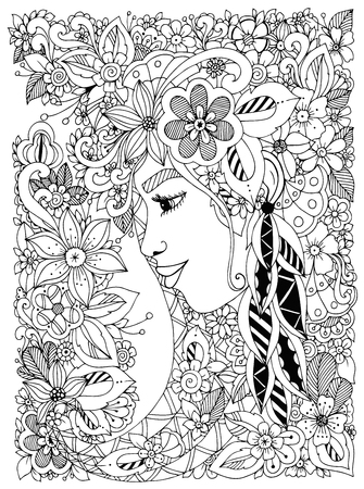 zen garden: Vector illustration Zen Tangle portrait of a woman in a flower frame. Doodle flowers, forest, garden. Coloring book anti stress for adults. Coloring page. Black and white.
