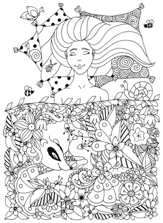 freckles: Vector illustration Zen Tangle girl with freckles sleeps under the flowers. Doodle flowers, badger, animal. Coloring book anti stress for adults. Coloring page. Black and white. Illustration