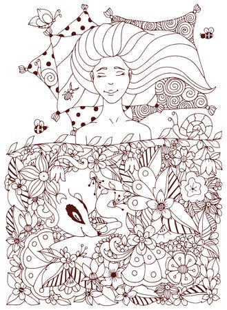 Ilustración Vectorial Chica Zen Enredo Con Las Pecas Y Un Mapache ...