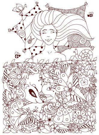 freckles: Vector illustration Zen Tangle girl with freckles sleeps under the flowers. Doodle flowers, badger, animal. Coloring book anti stress for adults. Coloring page. Brown  and white.