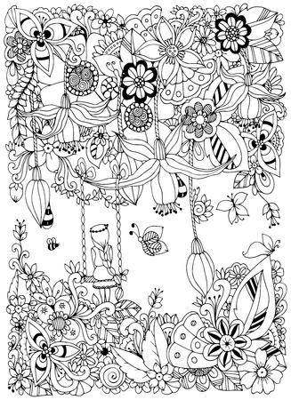 Illustration vectorielle Fille de Tangle Zen sur une balançoire dans les fleurs. Doodle garden, forest, Thumbelina. Livre de coloriage anti-stress pour adultes. Coloriage. Noir et blanc.