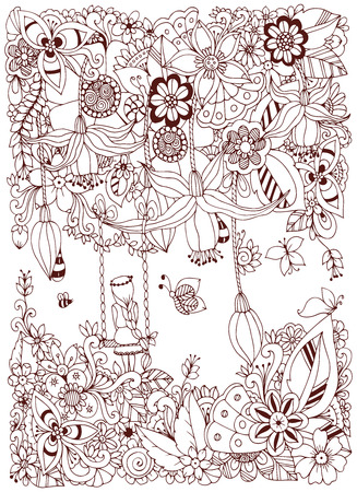 zen garden: Vector illustration Zen Tangle girl on a swing in the flowers. Doodle garden, forest, Thumbelina. Coloring book anti stress for adults. Coloring page. Brown  and white.