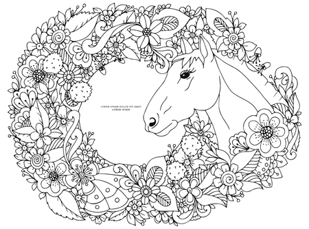 anti stress: Vector illustration Zen Tangle horse in flower frame. Doodle flowers, animals. Coloring book anti stress for adults. Coloring page. Black and white.