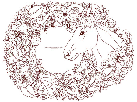 anti stress: Vector illustration Zen Tangle horse in flower frame. Doodle flowers, animals. Coloring book anti stress for adults. Coloring page. Brown  and white.