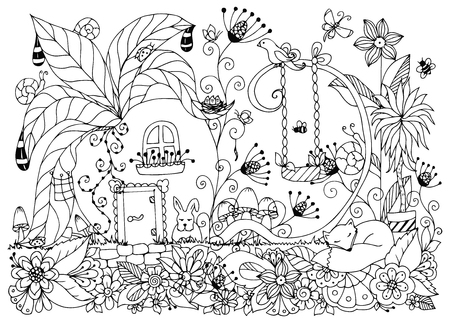 zen garden: Vector illustration Zen Tangle house of radishes. Doodle flowers, garden, nature, forest. Coloring book anti stress for adults. Coloring page. Black and white. Illustration