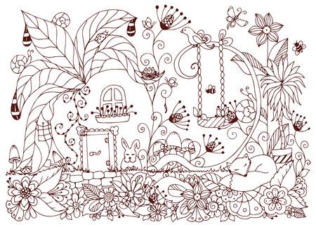Ilustración Vectorial Zen Enredo Casa De Rábanos. Flores De Bosquejo ...