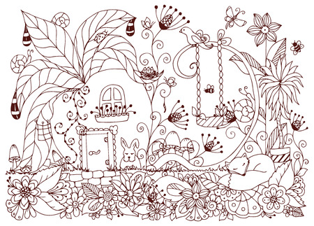 zen garden: Vector illustration Zen Tangle house of radishes. Doodle flowers, garden, nature, forest. Coloring book anti stress for adults. Coloring page. Brown  and white. Illustration